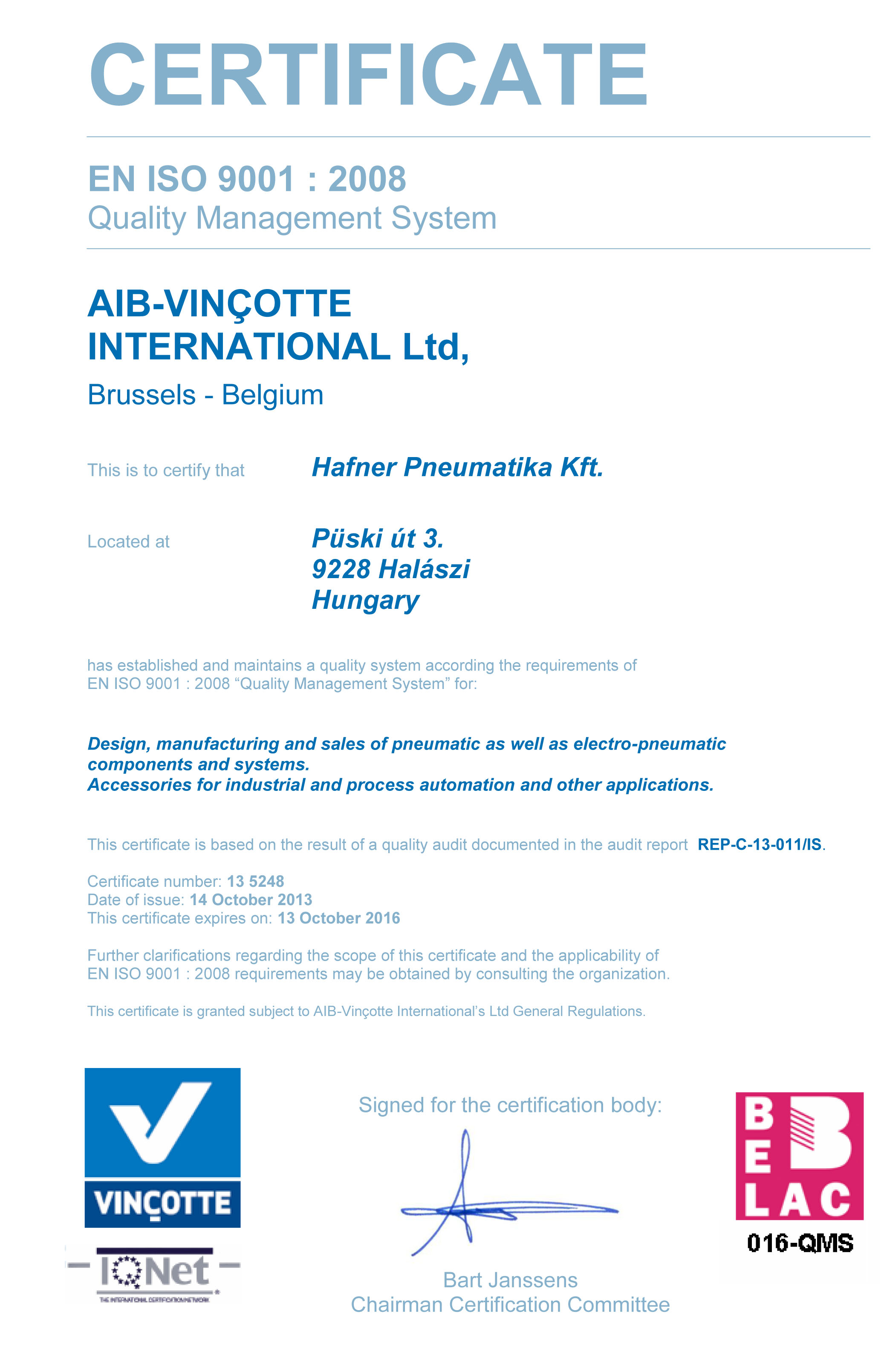 EN ISO 9001:2008 magyar nyelvű tanúsítvány