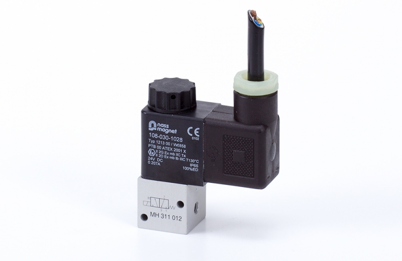 3/2-solenoid-valve, directly actuated, n.c., M5, ATEX